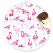 Zodaca Outdoor Round Tassel Beach Towel Sunbath Blanket Picnic Mat Multifunction - Pink Flamingos