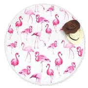 Zodaca Outdoor Round Tassel Beach Towel Sunbath Blanket Picnic Mat Multifunction - Pink Flamingos