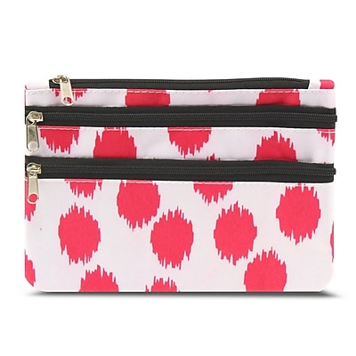 Zodaca Women Coin Purse Wallet Zipper Pouch Bag Card Holder Case - Pink with Black Trim