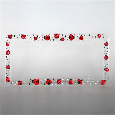 Insten Appealing Lady Bug on Clear Plastic Frame with White and Green Crystal