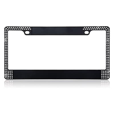 Insten Customizable Black Metal License Plate Frames with Double Row Shining White Crystals