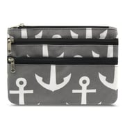 Zodaca Women Coin Purse Wallet Zipper Pouch Bag Card Holder Case - Black Gray Anchors