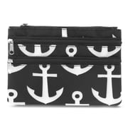 Zodaca Women Coin Purse Wallet Zipper Pouch Bag Card Holder Case - Black Anchors with Black Trim