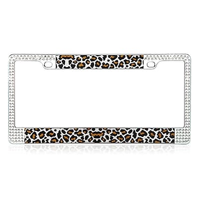 Insten Brown Leopard Design License Plate Frames with Double Row Shining White Crystals
