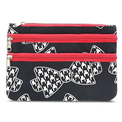 Zodaca Women Coin Purse Wallet Zipper Pouch Bag Card Holder Case - Hounds Tooth Bow Tie