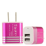 Insten 2-Port USB Quick Charge 2.1A Dual Ports Home Travel AC Wall Charger For Cell Phone Tablet - Hot Pink