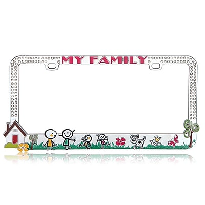 Insten Customizable Loving Family License Plate Frame with White Crystal