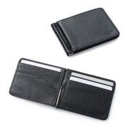 Zodaca Stylish Men's Slim Leather Bifold Wallet Purse Credit Card Holder Case with Removable Money Clip - Black