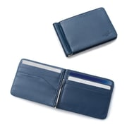 Zodaca Stylish Men's Slim Leather Bifold Wallet Purse Credit Card Holder Case with Removable Money Clip - Dark Blue