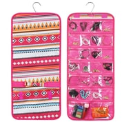Zodaca Jewelry Hanging Travel Organizer Roll Bag Necklace Storage Holder - Aztec Pink