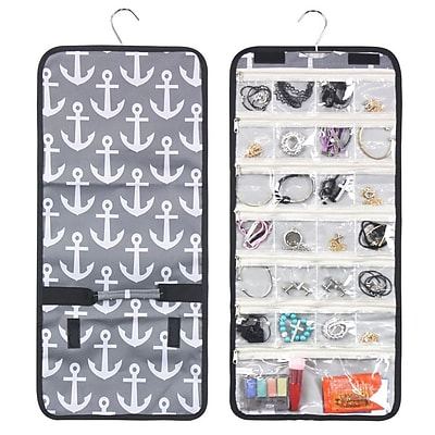 Zodaca Jewelry Hanging Travel Organizer Roll Bag Necklace Storage Holder - Anchors Gray White