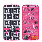 Zodaca Jewelry Hanging Travel Organizer Roll Bag Necklace Storage Holder - Black Greek Key Pink Trim