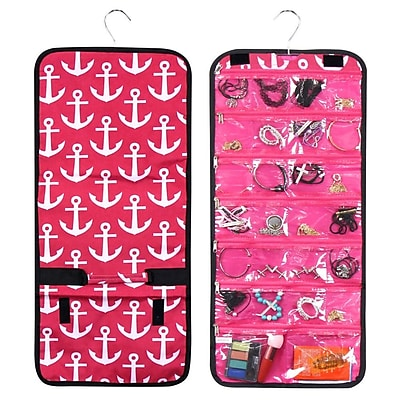 Zodaca Multi-Functional Jewelry Hanging Travel Business Trip Camping Organizer Roll Bag - Pink Anchors with Black Trim
