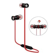Insten Universal Bluetooth 4.0 Wireless Stereo Running Sports Earbuds Magnet Headset with Mic for Smartphone - Black/Red