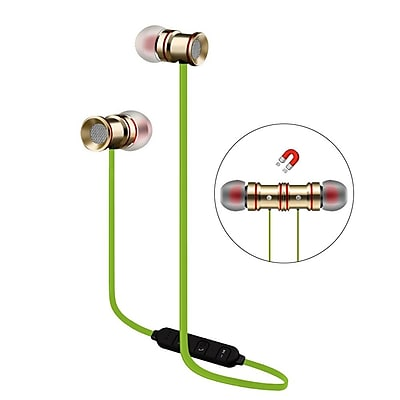 Insten Universal Bluetooth 4.0 Wireless Stereo Running Sports Earbuds Magnet Headset w/Mic for Smartphone - Silver/Green