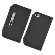 Insten Book-Style Leather Fabric Case w/card slot For Apple iPhone 4/4S - Black