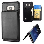 Insten Flip Leather Wallet Executive Case with Snap Fasteners For Samsung Galaxy S8+ S8 Plus - Black