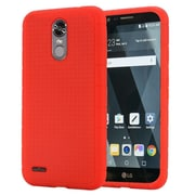 Insten Rugged Silicone Rubber Skin Soft Back Gel Case Cover For LG Stylo 3 - Red