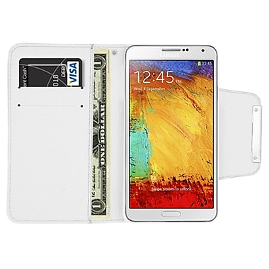 Insten Flip Leather Fabric Case w/card holder For Samsung Galaxy Note 3 - White