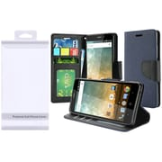 Insten Book-Style Leather Fabric Cover Case w/stand/card holder/Photo Display For ZTE Prestige 2 N9136 - Blue