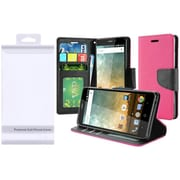 Insten Flip Leather Fabric Cover Case w/stand/card slot/Photo Display For ZTE Prestige 2 N9136 - Hot Pink