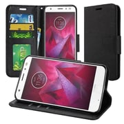 Insten Book-Style Leather Fabric Cover Case w/stand/card holder/Photo Display For Motorola Moto Z2 Force - Black