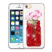 Insten Tulip Quicksand Glitter Hybrid Hard PC Protective Case Cover for Apple iPhone SE / 5 / 5S - Red