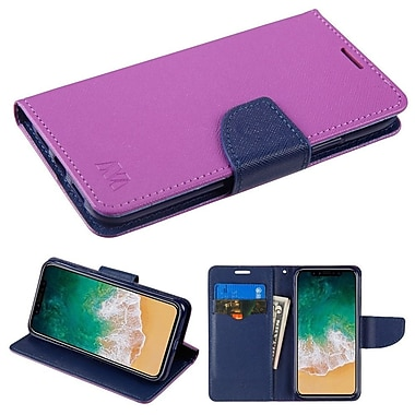 Insten Flip Leather Fabric Cover Case w/stand/card holder For Apple iPhone X - Purple/Blue
