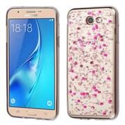 Insten Glitter Rubber TPU Clear Case Cover For Samsung Galaxy J7 (2017)/J7 Perx/J7 Prime/J7 Sky Pro/J7 V - Hot Pink