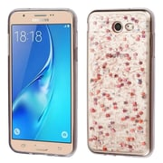 Insten Glitter Rubber TPU Transparent Case For Samsung Galaxy J7 (2017)/J7 Perx/J7 Prime/J7 Sky Pro/J7 V - Rose Gold
