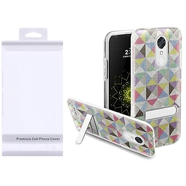 Insten Colorful Checkered/Clear Hybrid Glitter PC/TPU Kickstand Case Cover Package For LG Harmony/K10 (2017)/K20 Plus