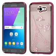 Insten Eiffel Tower Sheer Glitter Hybrid Case For Galaxy Amp Prime 2/Express Prime 2/J3 (2017)/J3 Emerge - Rose Gold
