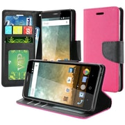Insten Book-Style Leather Fabric Cover Case w/stand/card slot/Photo Display For ZTE Prestige 2 N9136 - Hot Pink