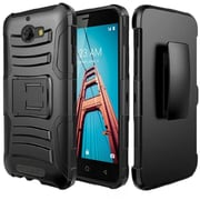 Insten Hybrid Side Kickstand PC/Silicone Case with Holster Clip For Coolpad Defiant - Black
