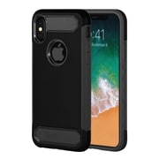 Insten Dual Layer Hybrid Rubberized Hard PC/Silicone Case Cover for Apple iPhone X - Black
