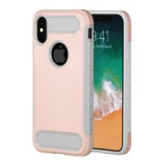 Insten Dual Layer Hybrid Rubberized Hard PC/Silicone Case Cover for Apple iPhone X - Rose Gold