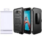 Insten Wave Symbiosis Hybrid Side Kickstand Holster Case with Package For Coolpad Defiant - Black