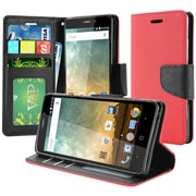 Insten Book-Style Leather Fabric Cover Case w/stand/card slot/Photo Display For ZTE Prestige 2 N9136 - Red