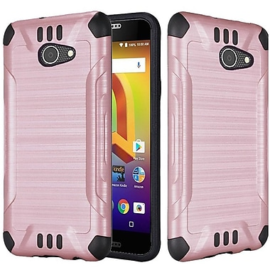 Insten Slim Armor Brushed Metal Design Hybrid PC/TPU Case Cover For Alcatel A30 - Rose Gold/Black