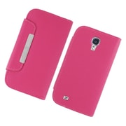 Insten Book-Style Leather Fabric Cover Case w/card slot For Samsung Galaxy S4 - Hot Pink