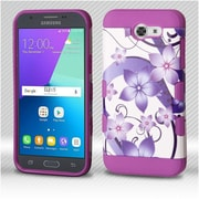 Insten Hibiscus Flower/Purple TUFF Trooper Hybrid Case For Samsung Galaxy Amp Prime 2/Express Prime 2/J3(2017)/J3 Emerge