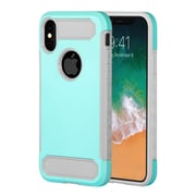 Insten Dual Layer Hybrid Rubberized Hard PC/Silicone Case Cover for Apple iPhone X - Teal