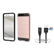 Insten Hybrid Brushed Dual Layer Hard PC/TPU Shockproof Case for Huawei P10 Plus - Rose Gold/Black (+ USB Type C Cable)