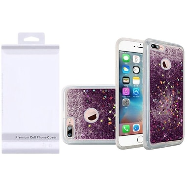 Insten Liquid Quicksand Glitter Fused Flexible Hybrid Case with Package For Apple iPhone 7 Plus - Dark Purple