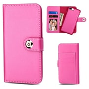 Insten Detachable Magnetic 2-in-1 Wallet Flip Leather Stand Card Case For Apple iPhone 7 Plus/6s Plus/6 Plus - Hot Pink