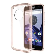 Insten Fusion Candy Acrylic TPU Rubber Skin Gel Case Cover For Motorola Moto G5 Plus - Clear/Pink
