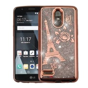 Insten Eiffel Tower Quicksand Glitter Hybrid Protector Case Cover for LG Stylo 3 / Stylo 3 Plus - Rose Gold/Silver