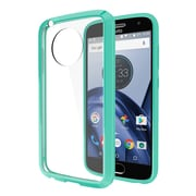 Insten Fusion Candy Acrylic TPU Rubber Skin Gel Case Cover For Motorola Moto G5 Plus - Clear/Teal