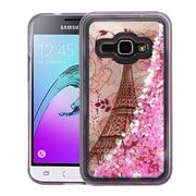 Insten Hearts Quicksand Glitter Eiffel Tower Hybrid PC/TPU Case Cover For Galaxy Amp 2/Express 3/J1 (2016)/Luna - Pink