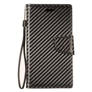 Insten Carbon Fiber Stand Folio Flip Leather Wallet Flap Pouch Case Cover for ZTE Blade Z Max/Sequoia/Zmax Pro 2 - Black